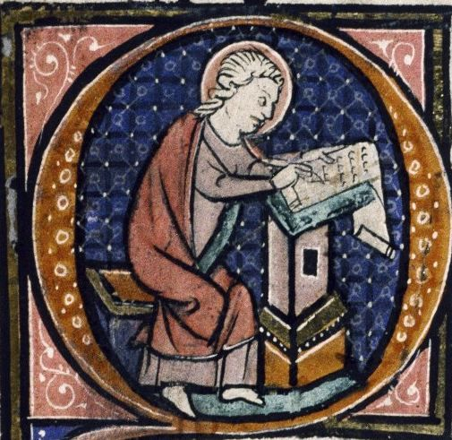St John depicted as a scribe from Oxford, Bodleian Library, MS Auct. D. 1.17