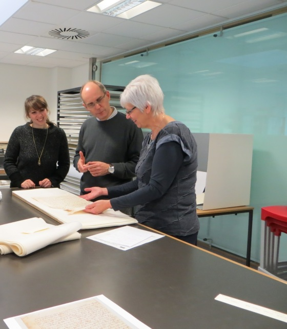Sarah-Fiddyment-Matthew-Collins-and-Antionette-Curtis-examine-parchment-in-the-Conservation-Studio-of-the-Norfolk-Record-Office-Image-courtesy-of-Norfolk-Record-Office.jpg